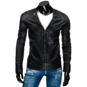 Černá vzorovaná přechodná kožená bunda pro pány se zipy na rukávech