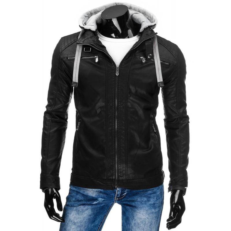7238eb7f3 ... bundy>Moderní černá pánská přechodná koženka s šedou kapucí a šňůrkami.  Předchozí