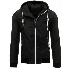 f4fe195a76b Sportovní černá přechodná pánská bunda s kapucí a bílými zipy