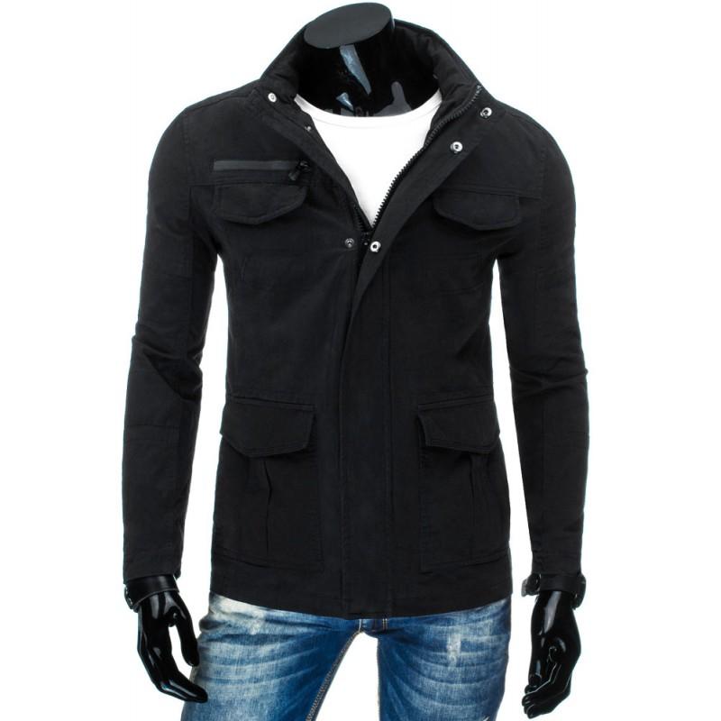 Elegantní prodloužené pánské přechodné bundy černé barvy s kapsami ... d6883521c49