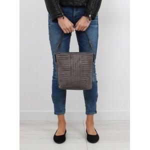 Šedé dámské každodenní kabelky do ruky s prošíváním