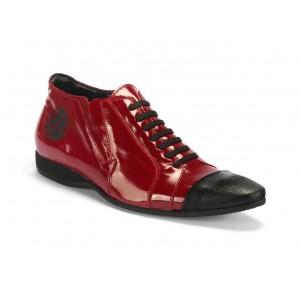 Červené pánské sportovní kožené boty COMODO E SANO s černými šňůrkami