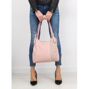 Dámská každodenní kabelka do ruky v růžové barvě s čárkovaným vzorem