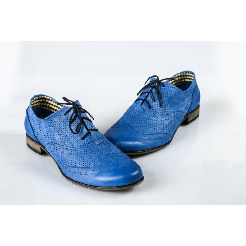 Dámské kožené polobotky dírkované modré DT233 - manozo.cz c7afda81f0