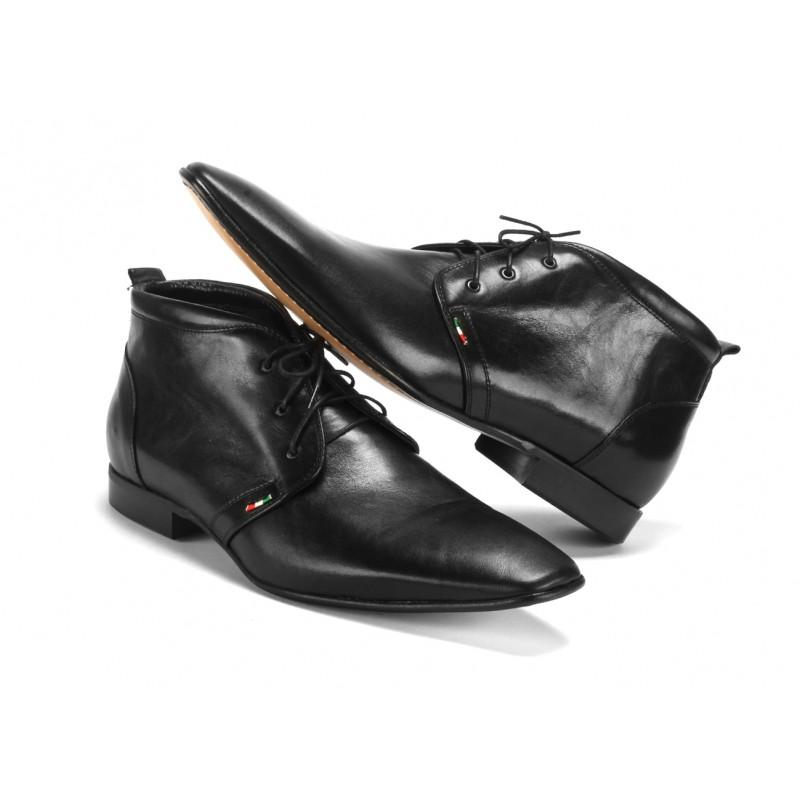 8bdd9fb10a Černé pánské kotníkové kožené boty na šněrování COMODO E SANO · Černé pánské  kotníkové kožené ...