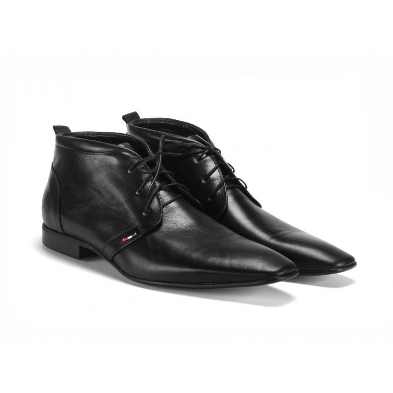 20237013c8 ... boty na šněrování COMODO E SANO · Černé pánské kotníkové kožené ...
