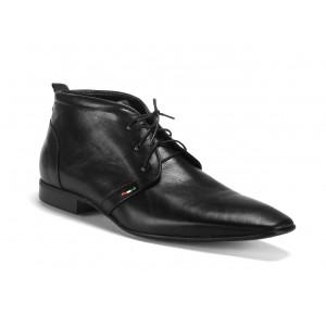 Černé pánské kotníkové kožené boty na šněrování COMODO E SANO