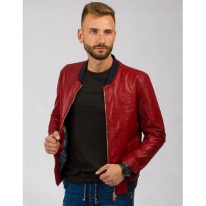 Červená pánská přechodná kožená bunda s černými detaily
