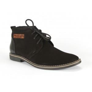 Černé pánské kožené boty s nášivkou COMODO E SANO