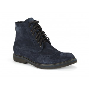 Pánské zimní kožené boty COMODO E SANO se šňůrkami v modré barvě