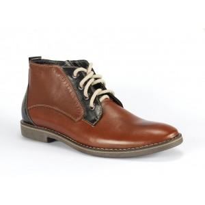 Hnědo modré kotníkové pánské kožené boty COMODO E SANO