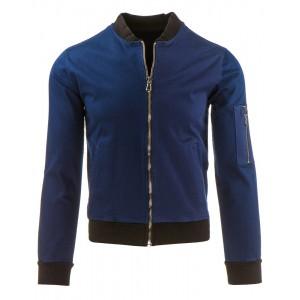 Klasická modrá pánská bomber bunda do přechodného počasí