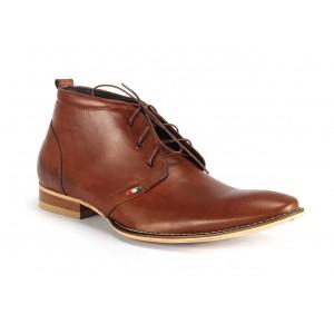 Hnědé pánské kožené boty na šněrování COMODO E SANO