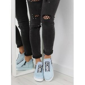 Modré semišové dámské tenisky s hrubší podrážkou a zipem