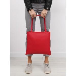 Klasická dámská shopper kabelka červené barvy s kosmetickou taškou