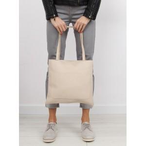 Jednoduchá béžová shopper kabelka pro ženy s vnější kapsou bez zapínání