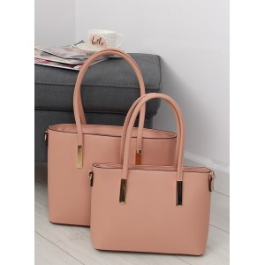 Dámská sada růžových elegantních kabelek do ruky