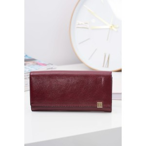 Kožené dámské peněženky bordó barvy se zlatým zispom na boku