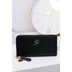 Elegantní dámská peněženka černé barvy se zlatým zipem