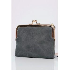 Tmavě šedé malé kožené peněženky pro dámy