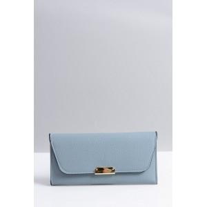 Prostorná dámská peněženka modré barvy se zlatou ozdobou