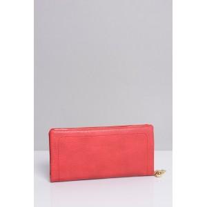 Červené dámské peněženky se zapínáním na zlatý zip