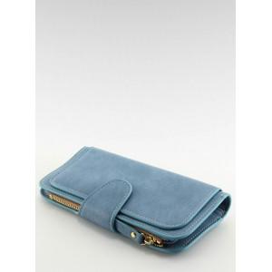 Modrá dámská jednoduchá peněženka na zapínání s chlopní