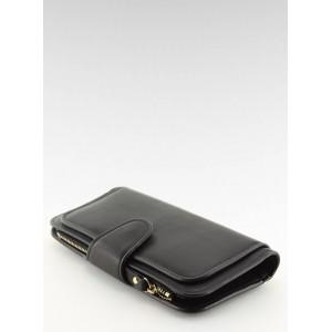 Velké a prietranné dámské peněženky černé barvy s přihrádkami na karty