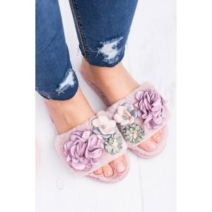 Moderní dámské zateplení nazouváky pro dámy růžové barvy s květy