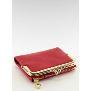 Červená dámská peněženka s přihrádkou na mince se zlatou sponou