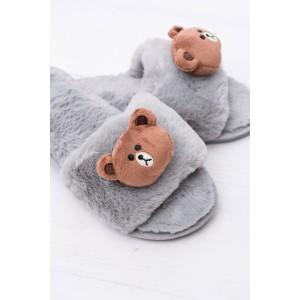 Moderní dámské nazouváky pro dámy šedé barvy s medvídkem
