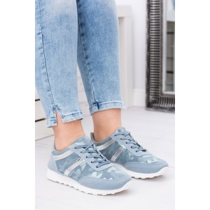 Sportovní dámské boty modré barvy s jemným maskáčovým vzorem