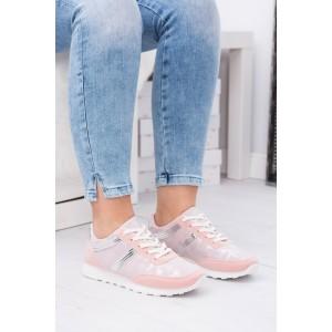 Růžová dámská sportovní obuv s bílou podrážkou a maskáčovým vzorem