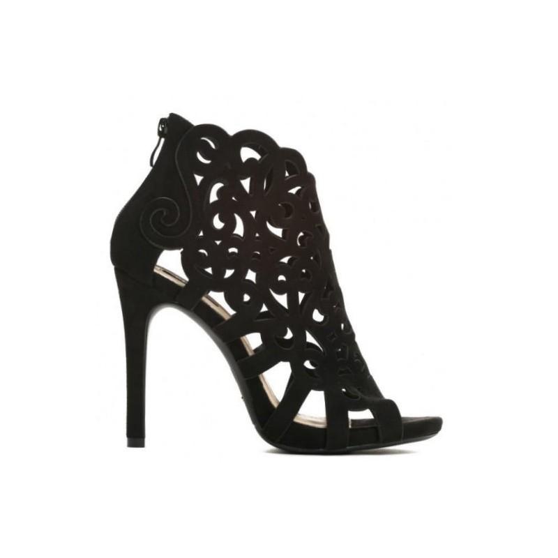 7718a1afd850 Elegantní černé dámské sandály na podpatku s otevřenou špičkou ...