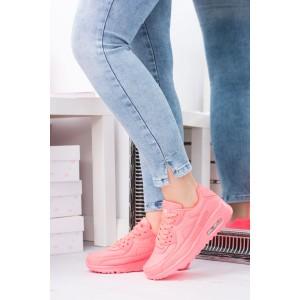 Neonově růžová dámská sportovní obuv s tlustou podrážkou a tkaničkami
