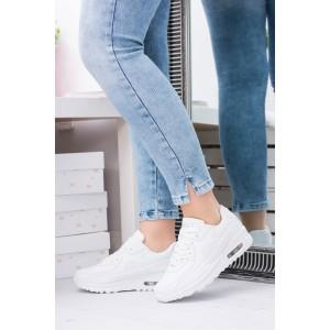 Bílá dámská sportovní obuv na šněrování s pohodlnou tlustou podrážkou