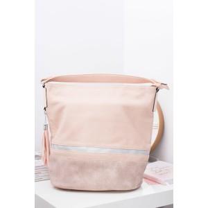 Velká světle růžová dámská shopper kabelka s třásněmi