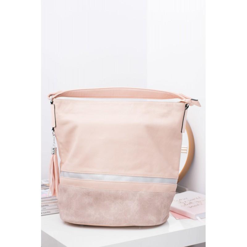 Velká světle růžová dámská shopper kabelka s třásněmi - manozo.cz 23953b79d3b