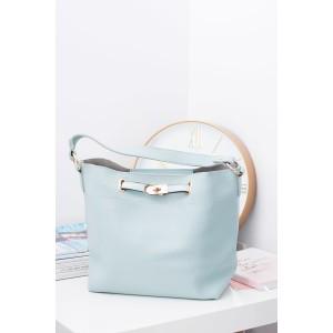 Světle modrá dámská kabelka na rameno s malou kosmetickou taškou