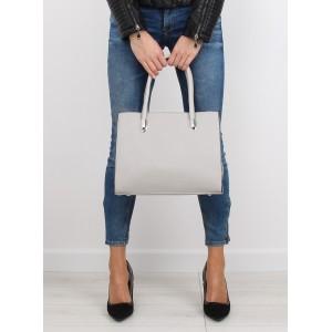Dámská kabelka do ruky šedé barvy s kapsou na vnější straně