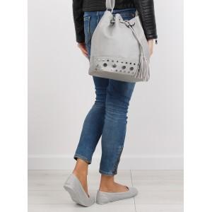 Šedá dámská kabelka na rameno typu pytel s třásněmi