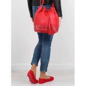 Moderní dámské kabelky typu pytel červené barvy se stahovací šňůrkou