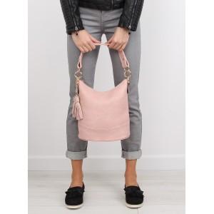 Světle růžová dámská kabelka do ruky s třásněmi