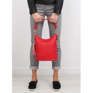Červená dámská kabelka do ruky s hrubým řemínkem