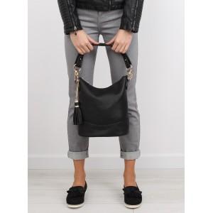 Jednoduché dámské černé kabelky do ruky se zlatými doplňky