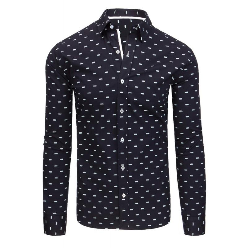 26cd86ba6e2 Luxusní tmavě modrá pánská košile slim fit s bílým vzorem - manozo.cz