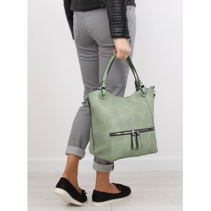 Dámská zelená kabelka do ruky se zipem na přední straně