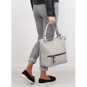 Šedé dámské prostorné kabelky do ruky s vnější kapsou na zip