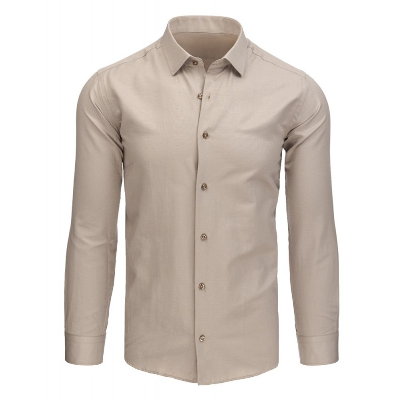 71da82b2fbe2 Světle hnědá pánská formální košile s dlouhým rukávem a knoflíky ...