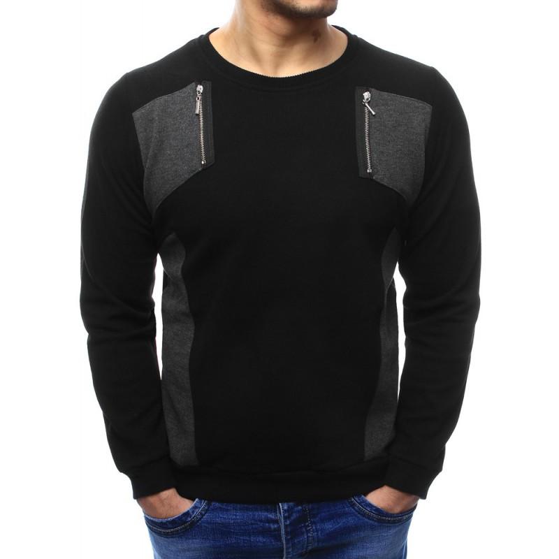 Moderní pánský svetr v černé barvě ozdobený zipy - manozo.cz bfe8b90deb